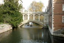 """Живописный мост через реку. Называется """"Bridge Sighe"""" – копия моста в Венеции. Вокруг  парк. Поздняя осень, желтые листья, сухая трава, георгины."""