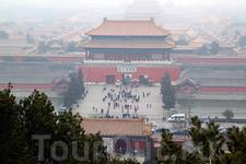 Императорский парк Цзиншань, вид на Запретный город