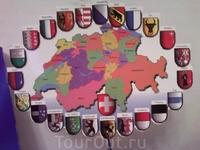 открытка с картой Швейцарии и кантонами