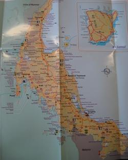 Карта юга Таиланда