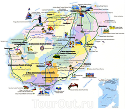 Карта достопримечательностей Хайнаня на английском языке