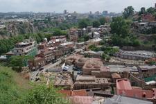 Панорама Тбилиси. Вид на серные бани сверху.