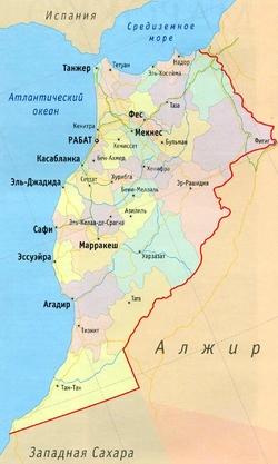 Карта Марокко с городами