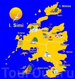 Карта острова Сими с достопримечательностями