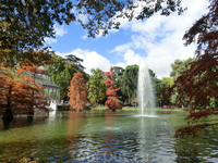 В центре пруда бьет фонтан. Здесь очень приятно находиться летом, когда жара в столице Испании поднимается выше 40 градусов.