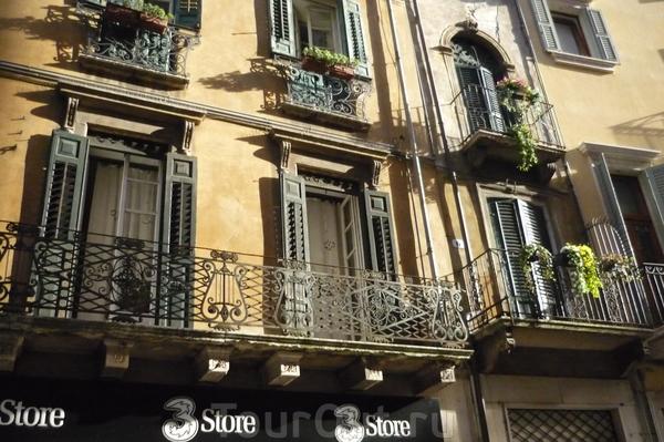 Верона. Жилые  дома  в старой  части  города.