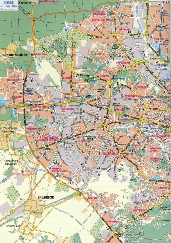Карта-схема Киева с улицами