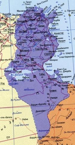 Карта Туниса на русском