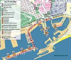 Карта Барселоны с причалами