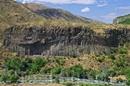 Вид на базальтовые столбы с берега реки.
