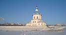 вид на Успенскую церковь с акватории речного порта