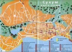 Карта Сухуми с достопримечательностями
