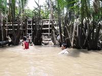 Дельта реки Меконг. Местные купаются