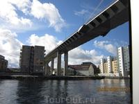 Вид на город Ставангер с катера