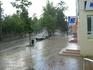 """Дождь в Судаке 2. Вид на центральную улицу из кафешки """"Челентано""""."""