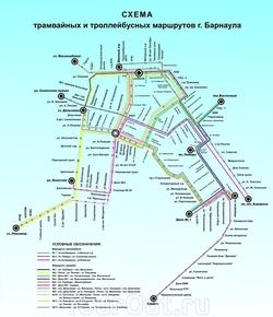 Карта Барнаула с маршрутами