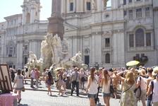 Рим. Piazza Navona. Фрагмент  фонтана 4-х рек.