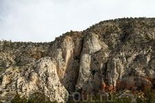 Уже попадаются горы поросшие разной растительностью.
