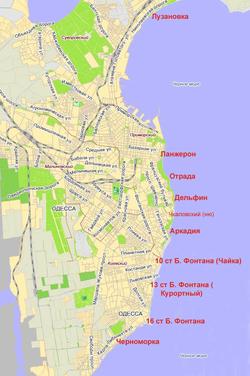 Карта пляжей Одессы