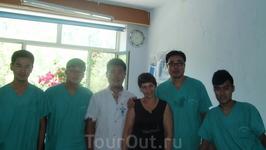 Я,  слева от меня Андрей и его ребята .