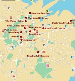 Карта Таллина с отелями