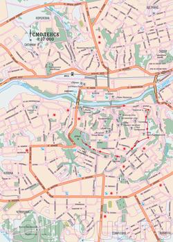 Карта Смоленска с дорогами