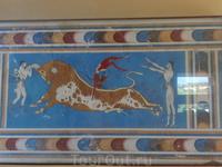 Это фреска изображает спортивные состязания. В минойской цивилизации было принято красным цветом изображать мужчин, а белым женщин. Видно, что мужчина ...