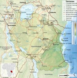 Танзания на карте