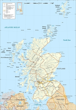 Карта Шотландии с дорогами