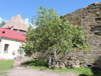 Небольшой уютный дворик в крепости. Рядом с деревом есть выход на пляж позади крепости.