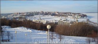 вид на зимний город с высоты восточного косогора