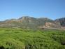 А это прекрасный вид на горы и верхушки сосен!