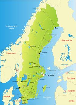 Karta Shvecii S Dostoprimechatelnostyami Oteli Mesta Foto Na Karte
