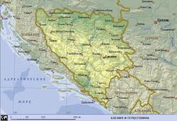 Карта Боснии и Герцеговины с городами