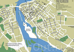 Карта Иркутска на английском языке