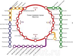 Схема линий иркутского трамвая