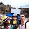 А вот и античный театр в Таормине, которому несколько тысячелетий. Когда мы там были в нем проходил кинофестиваль и показывали фильмы.