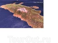 А это бесподобная съемка,не могла не выложить! Справа- налево- вниз-Ретимно,Ханья и залив Суда,Грамвуса,на западной точке Элафониси,и белое пятно-гора ...