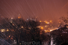 Вид с башни Гедиминаса Снежный буран!
