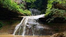 """Последний водопад расположился в 50 метрах по течению Руфабго,он виден от """"Чаши любви"""""""