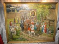 Картина с изображением входящей воинской дружины.