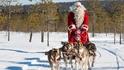Санта Клаус на собачьей упряжке
