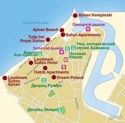 Карта Аджмана с отелями
