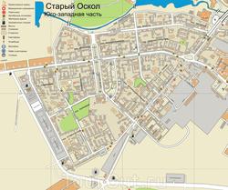 Карта Старого Оскола (Юго-Западная часть)