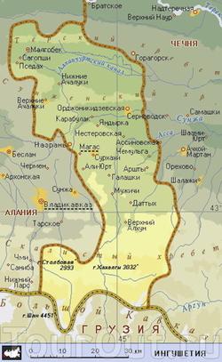 Карта Ингушетии