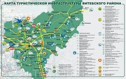 Карта Витебской области с достопримечательностями