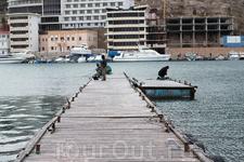 А рыбаки, что летом, что зимой ловят рыбу с этого пирса