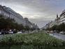 Вечер, Вацлавская площадь. Вдалеке виднеется, по-моему, находящийся на вечном ремонте Национальный музей и памятник святому Вацлаву на коне.