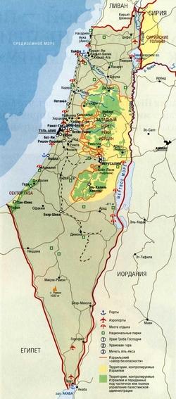 Карта Израиля на русском
