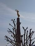 На верху стеллы памятник женщине из золота-символ свободы. У подножия стеллы памятник погибшим в первой и второй отечественных войнах.